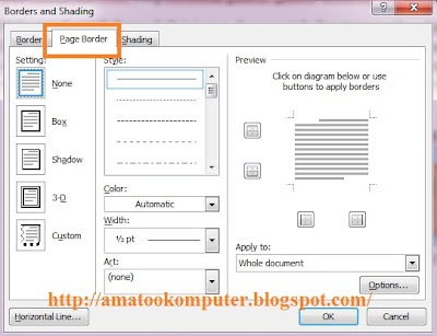 membuat border di word, membuat bingkai di word, tips word, microsoft word 2007 2