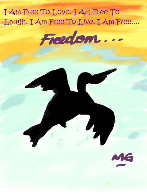 I Am Free Poem (Bird Flying In The Sky Image)