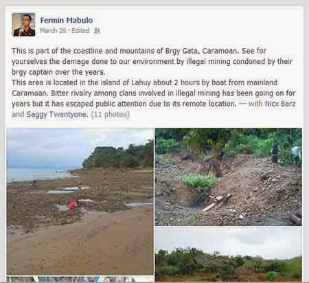 Fermin Mabulo's Facebook post on the Caramoan massacre