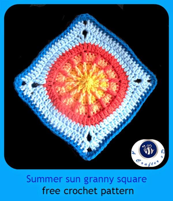 sun granny square, crochet sunny granny square