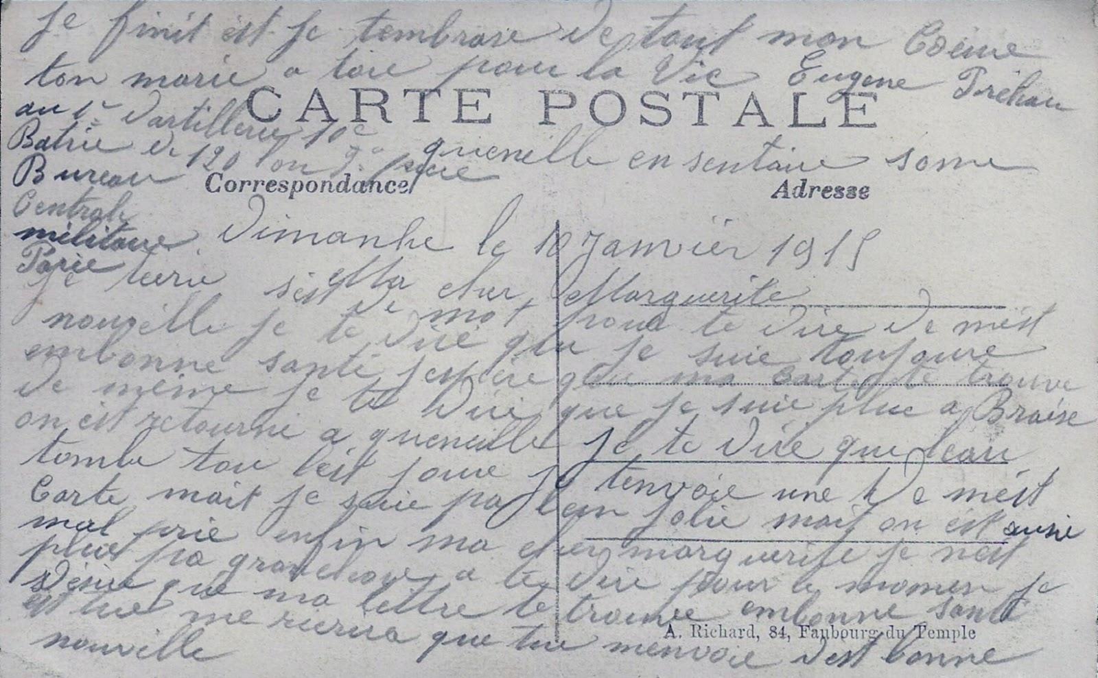 Eugène Préhau - Bataille de la Somme 1914-1915 Euge%CC%80ne+Pre%CC%81hau+10+janvier+1915+verso+1