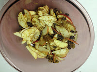 7. Mix together apple slices, raisins, and brown sugar.