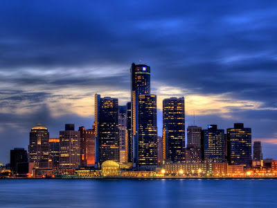 Foto nocturna de Detroit