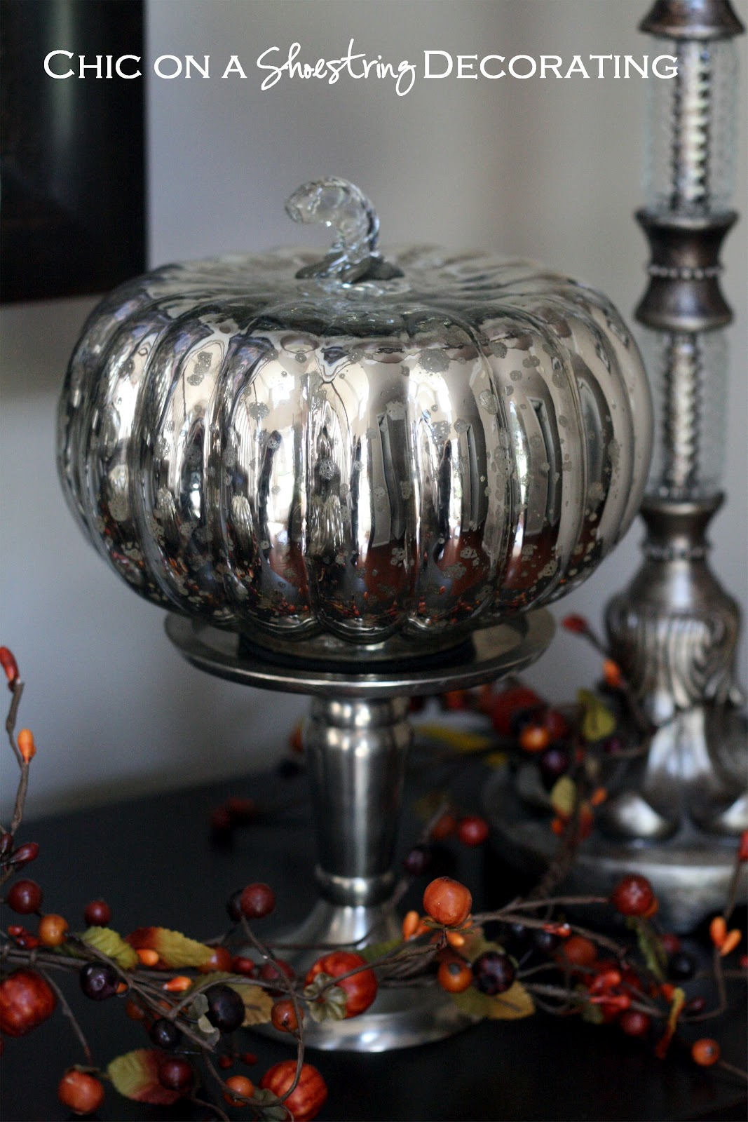 chic on a shoestring decorating pumpkinlicious mercury glass