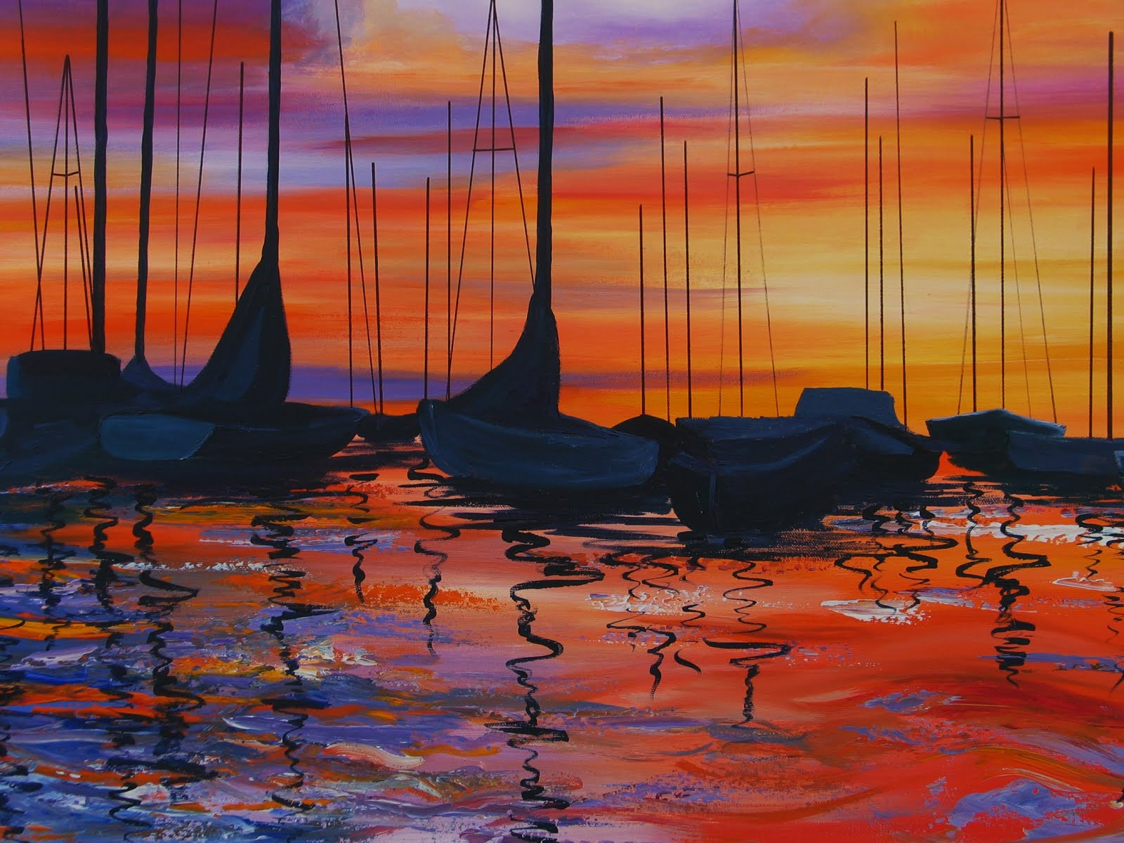SUNSET  Acrylic Painting  Acrylic Paintings Sunset