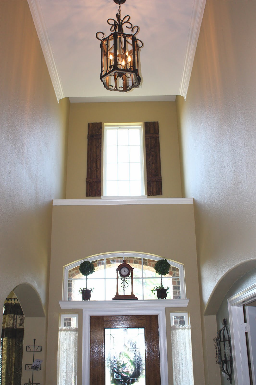 French Country Foyer Chandelier : From my front porch to yours diy rustic shutters new