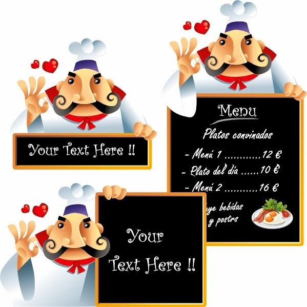 Cocinero con menú - Vector