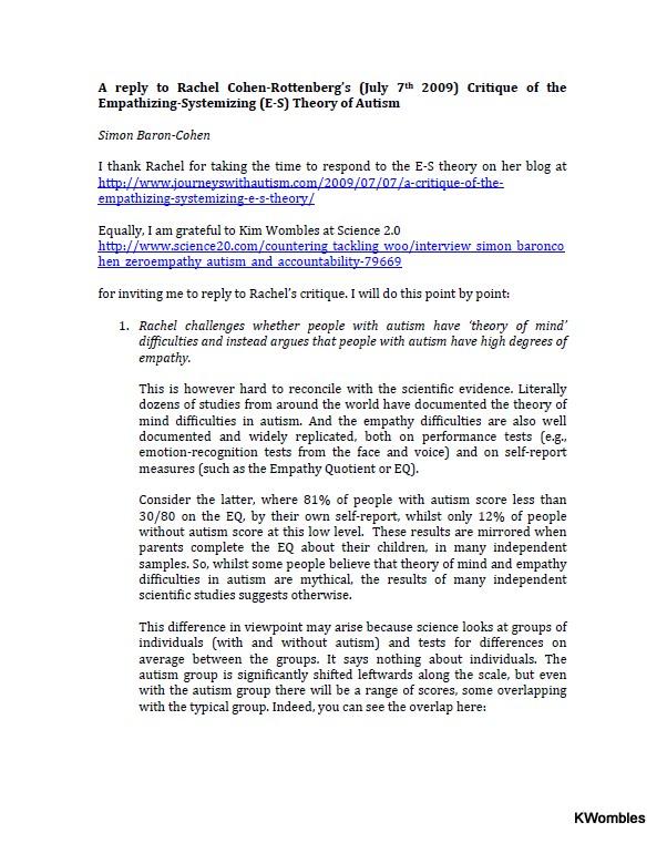 Autism Blogs Directory Simon Baron Cohen Replies To Rachel