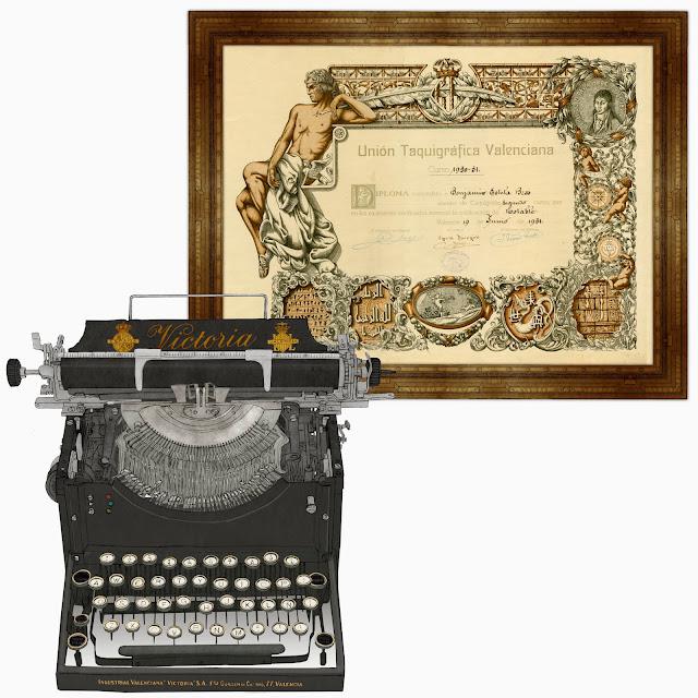 titulo de taquigrafia, maquina de escribir, dibujo