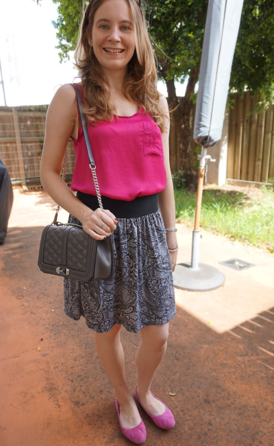 Pink and grey outfit paisley print skirt suede flats Rebecca Minkoff love