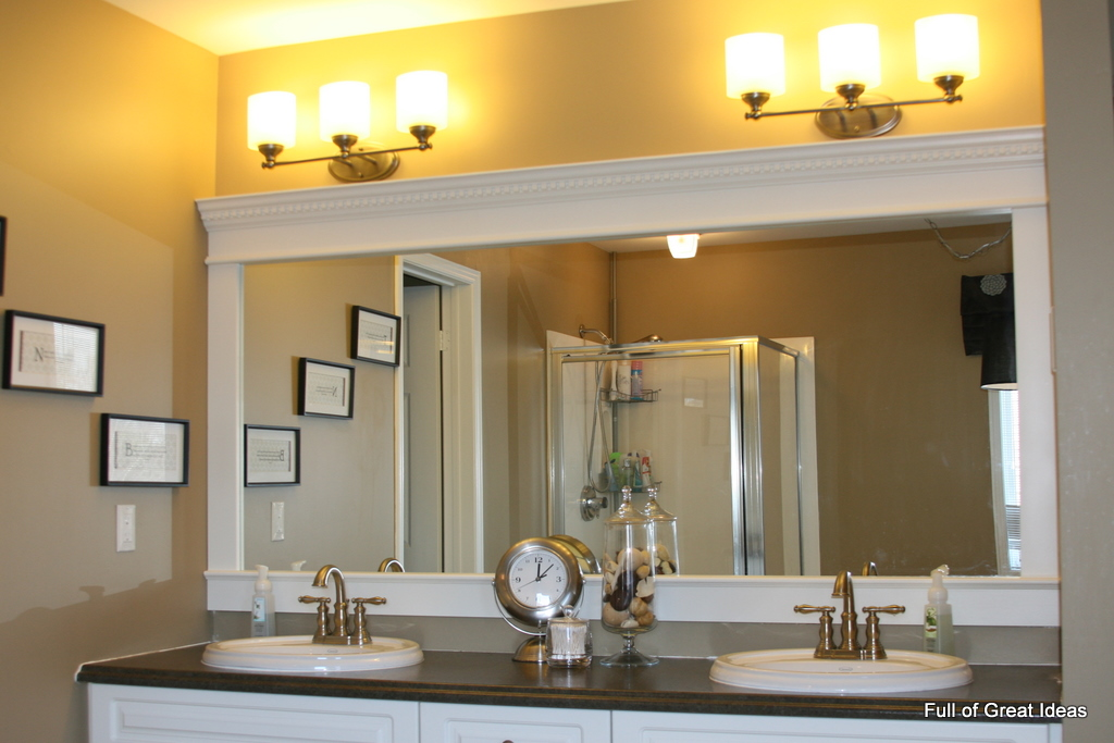 bathroom mirror trim ideas of great ideas how to upgrade your builder grade - Bathroom Ideas Mirrors