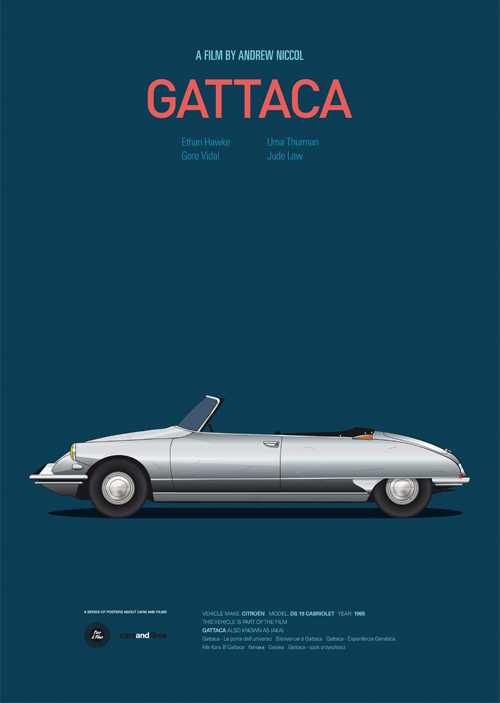 Carros famosos do cinema em posters minimalistas - Jesús Prudencio - Gattaca