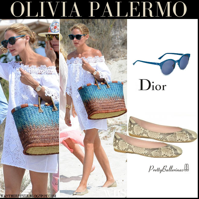 Olivia Palermo in white off shoulder mini Temptation Positano dress with snake skin Pretty Ballerinas ballet flats and blue sunglasses dior sideral what she wore july 30