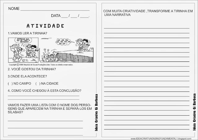 Atividade Tirinha Turma da Mônica e Produção de texto narrativo