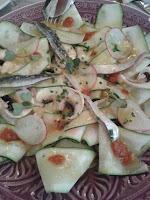 Carpacio de calabacín, champiñones y sardinas marinadas. La Quinta Brasería. El Tapeador: tapas en Sevilla