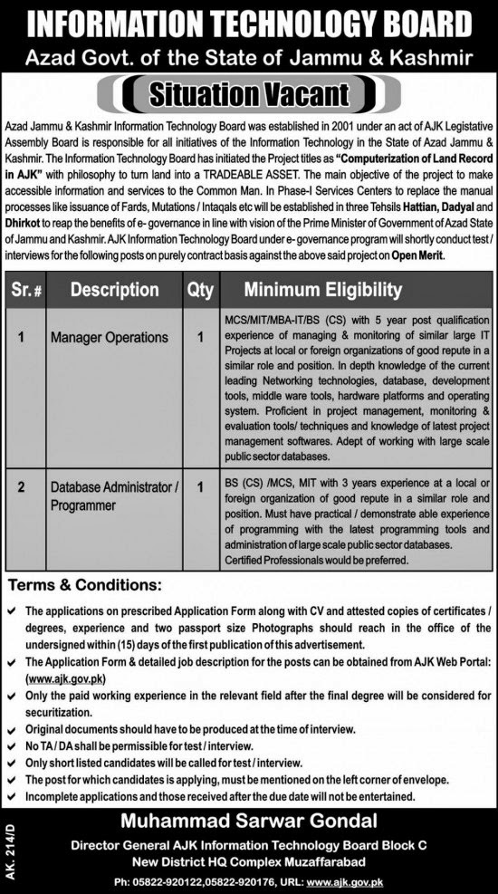 Management Jobs in Information Technology Board, Muzaffarabad