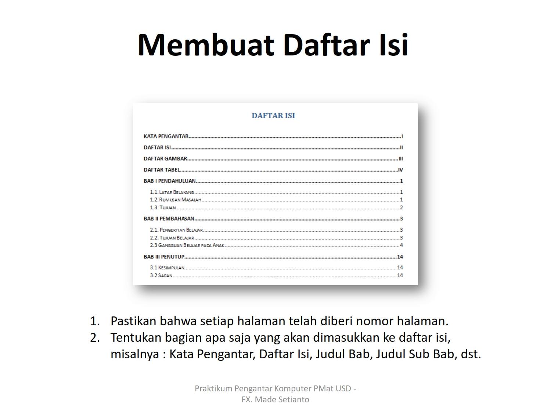 membuat daftar pustaka dari file pdf membuat daftar isi