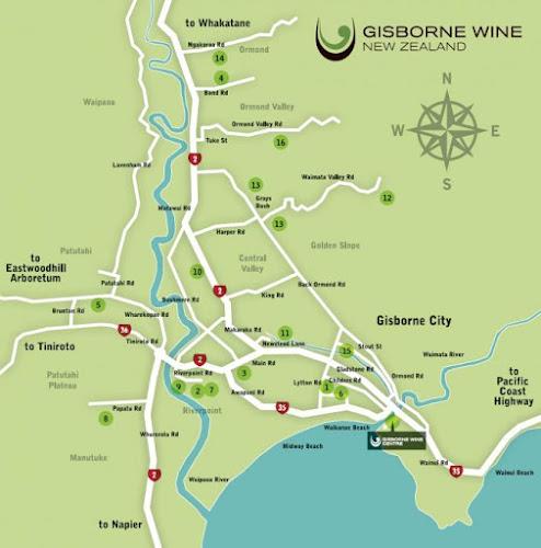 Mapa de Gisborne - Nova Zelândia