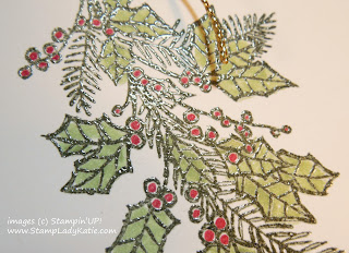 Christmas Card made with the Holly spray from Stampin'UP!'s Peaceful Wreath Stamp Set