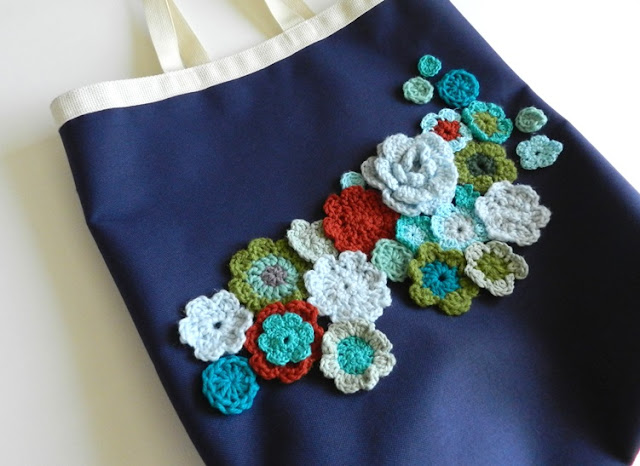 bag embellished with crochet flowers