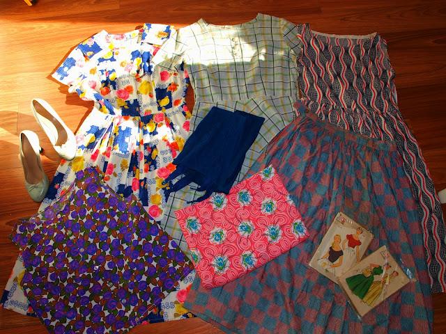 50's dress vintage shoes girdle fabric
