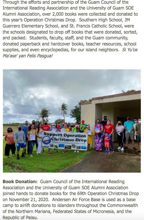 Guam IRA and SOE Alumni Association Donate to the 69th Operation Christmas Drop