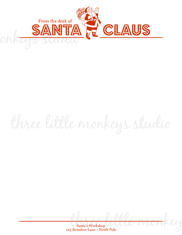 Letterhead From Santa Santa Letterhead Available as