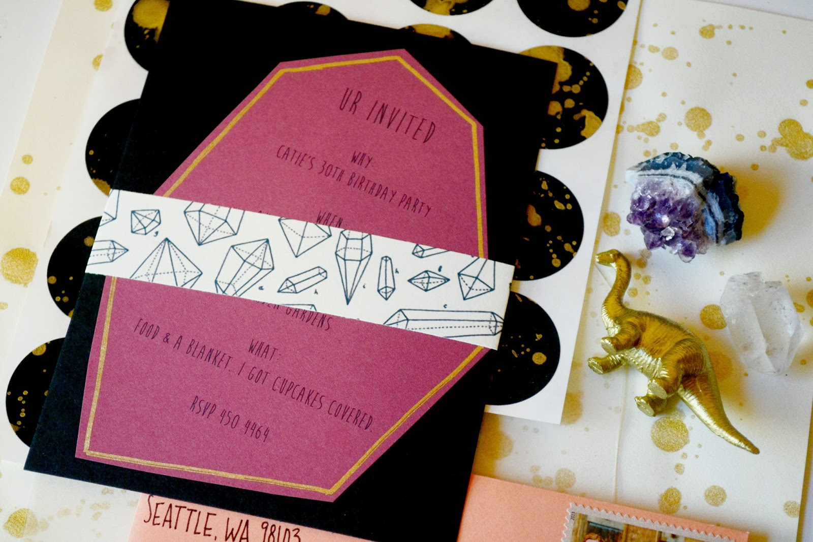 gold, coral, envelope, invitation, gems, crystals, dinosaur, splatter paint