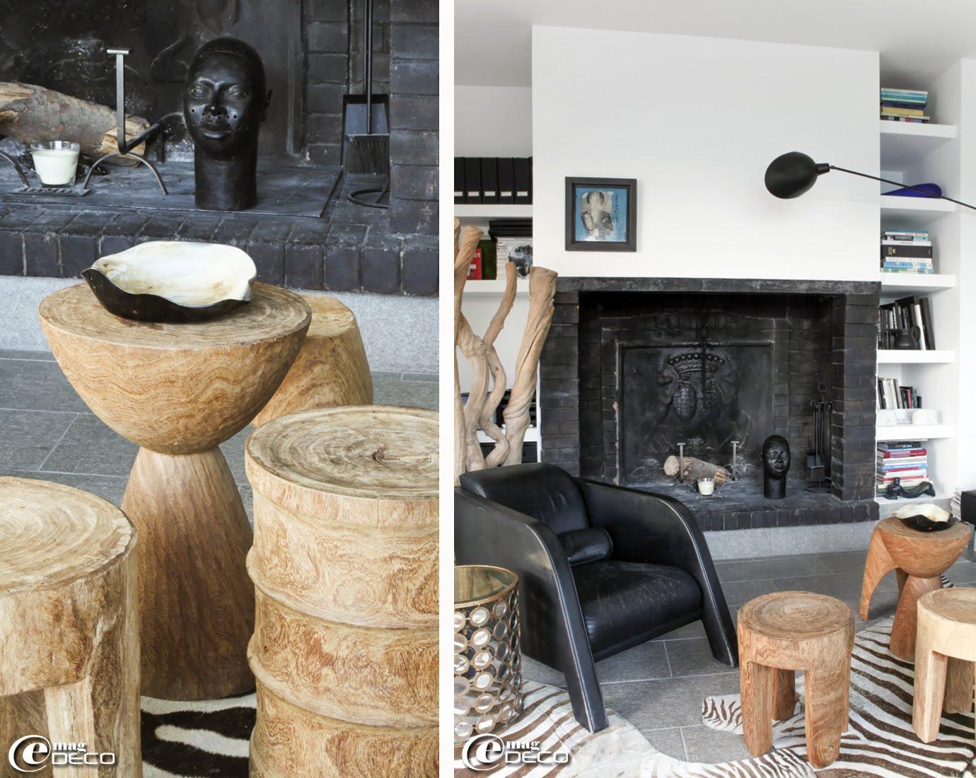 Peaux de zèbre posées en tapis, fauteuil 'ypsilon' en cuir noir d'Ulf Moritz pour 'Reim-Interline', applique murale avec bras articulé de Serge Mouille