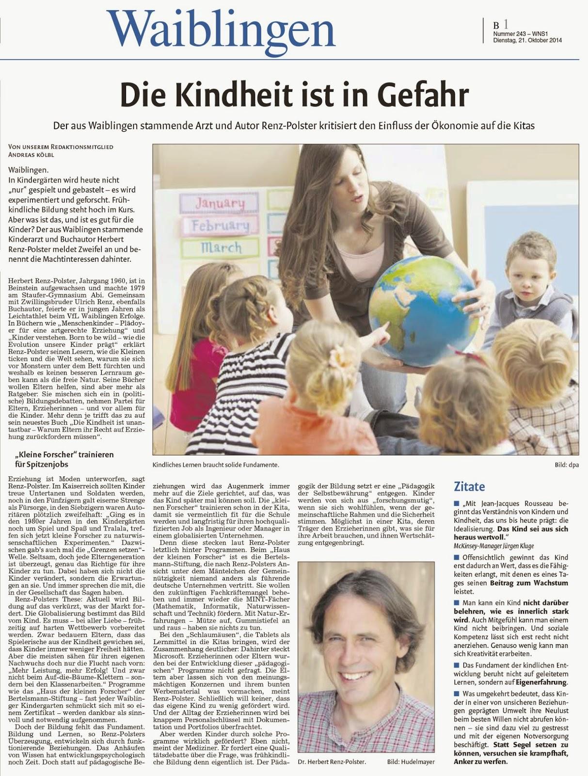 Die Kindheit in Gefahr - ZVW 21.10.2014