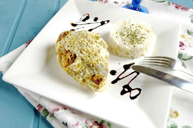 Pechugas de pollo con nata y cebolla