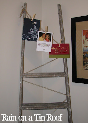 Christmas Card Holder {rainonatinroof.com} #ladder #Christmas #card