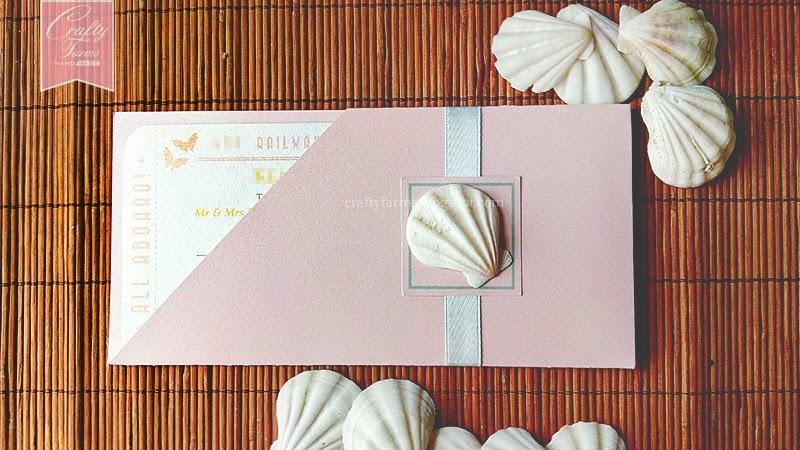 Pastel Wedding Card with Seashell