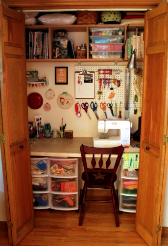 Craft closet - Small space sewing area style ...