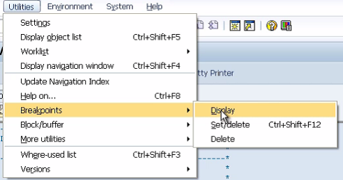 Breakpoints in ABAP Debugger Screen
