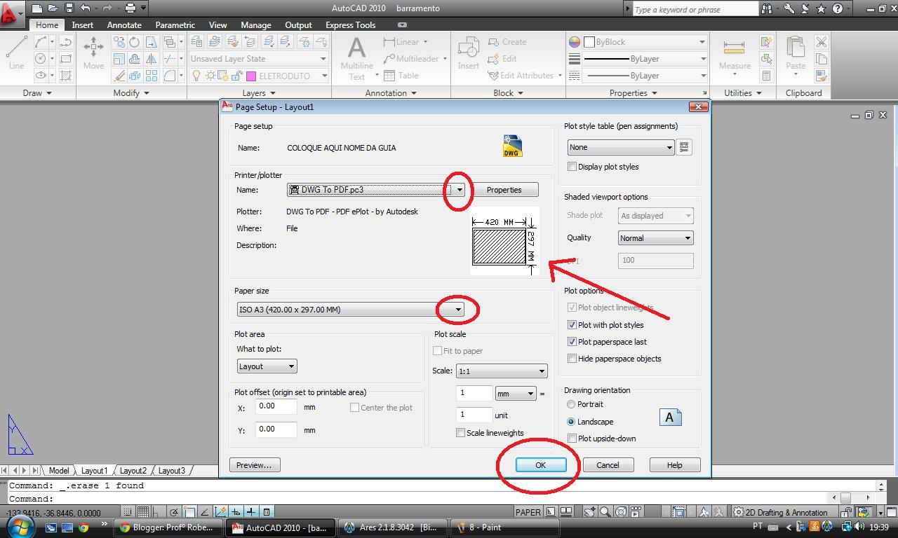 depois de configurado o tamanho do papel para o #AE1D25 1280 768