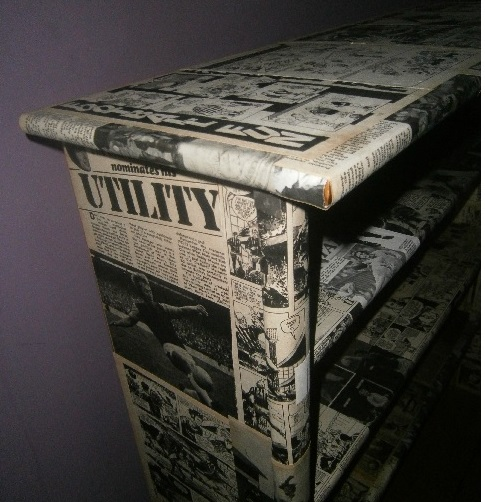 The art of up cycling how to do paper mache book shelf for Paper mache furniture ideas