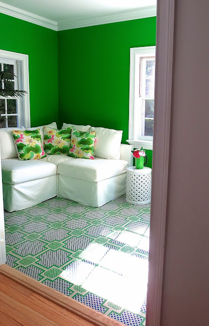 kelly green garden room painted wood tile floors