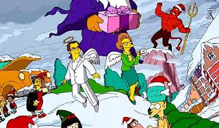 Edna Krabappel y Don Payne en el opening navideño de Los Simpson