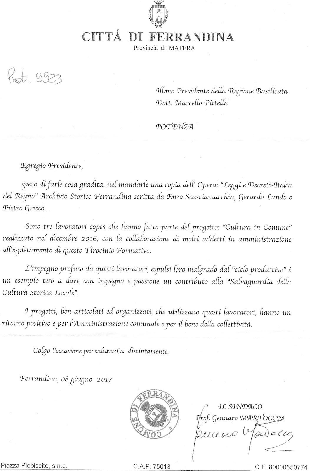Lettera di presentazione al Presidente della Regione Basilicata Marcello Pittella