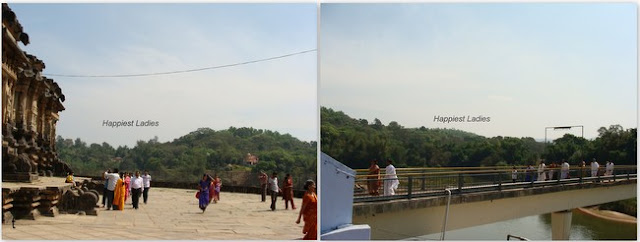 Sringeri Sharada Peetham Temple Premises and over bridge across river tunga+sringeri sharada temple