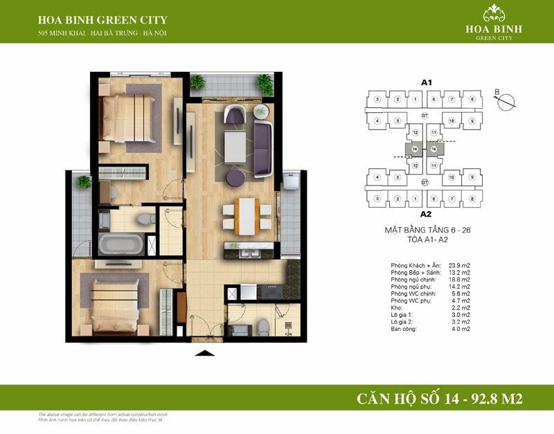 căn số 14 ( 92,8m2 ) chung cư Hòa Bình Green City