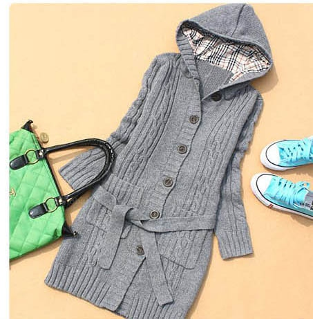 Long grey hooded cardigan sweater