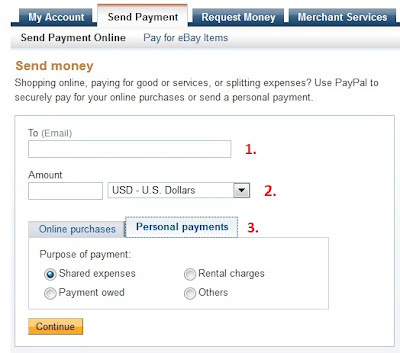 Send money with PayPal. Enter email, amount and purpose.