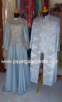 Baju Pengantin Muslim Gold Silver dengan Jubah ala Indi