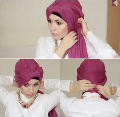 Tutorial Hijab Semi Turban dengan Scarf Panjang untuk ke Kantor