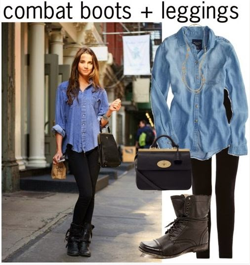 Combat Boots + Leggings, Perfect Cute Outfit for School!