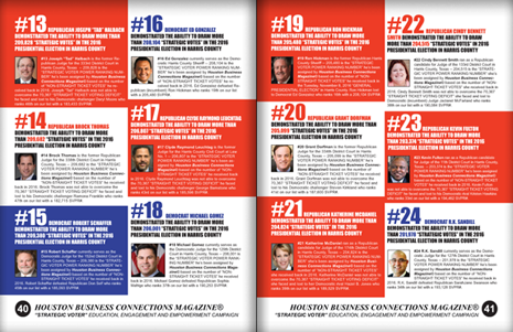 "PAGES 40 AND 41 - HOUSTON BUSINESS CONNECTIONS MAGAZINE© ""STRATEGIC VOTER"" MOBILIZATION PROJECT"