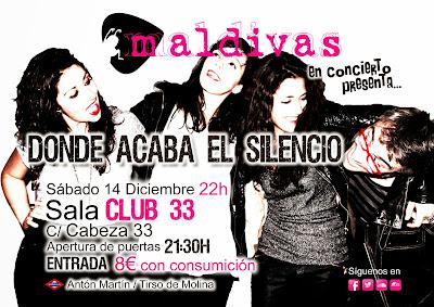 Maldivas presentacion ep Sala Club 33 Madrid 14 de Diciembre