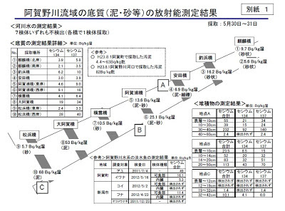 阿賀野川流域の底質(泥・砂等)の放射能測定結果